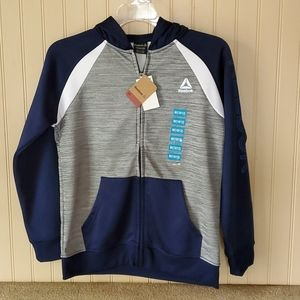 NWT Boys Reebok jacket navy gray size 10/12 medium
